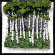 Dimensional Weaving - Martina Celerin fiber art: Portraits of Trees are on my mind Moss Wall Art, Moss Art, Weaving Art, Tapestry Weaving, Plant Wall, Plant Decor, Hanging Plants, Indoor Plants, Island Moos
