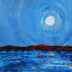 SALE original painting full moon over the lake   #moon #fullmoon #moonlake #maine