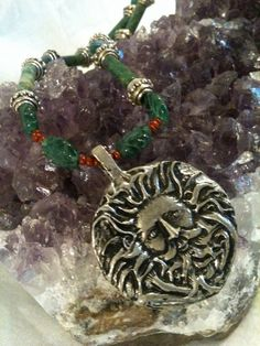 Greenman Necklace by GatheringWillows on Etsy, $17.00