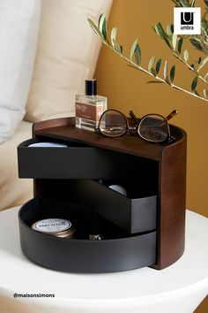 $53 · Moona features round, circular shapes for a one-of-a-kind jewelry organizer. Both decorative and functional, Moona has a large display top that doubles as a tray for smaller accessories, perfume, small plants or other items. Its three rotating drawers can provide hidden storage or be pushed out for easy access. With its unique semi-circle shape and beautiful wood accents, Moona can be displayed on your vanity, counter, dresser, desk and more. Wall Organization, Jewelry Organization, Next Bathroom, Wood Home Decor, Jewelry Tree, Circle Shape, Wood Accents, Hidden Storage, Minimalist Bedroom
