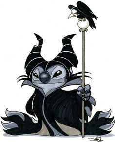 Art Lilo  Stitch / Sleeping Beauty (Maleficent) in-days-of-yore  this would be an AWESOME tattoo