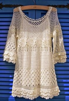: Hand Knit White Crochet Dress