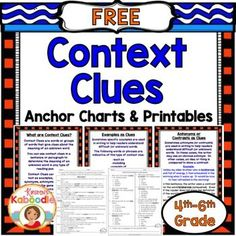 These Context Clues Printables offer print and go, common core aligned, context clues activities for 4th-6th grade. This context clues product includes four instructional pages to help students search for context clues in text, 1 reading passage, and one multiple choice printable that corresponds with the reading passage.