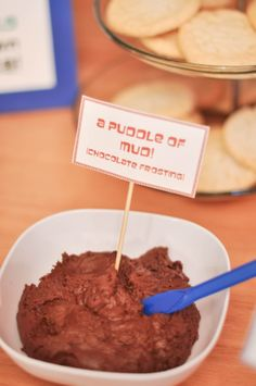 "Pete the Cat Party- I will do this with chocolate pudding and call it ""Mud puddle pudding"""