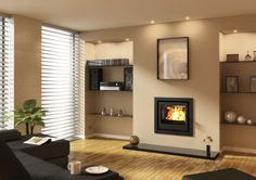 The Aarrow i-series cassette stoves offer sleek, contemporary design, along with great levels of efficiency. Available in a wide range of sizes and outputs, there's an i-series stove to suit every home. Inset Fireplace, Tv Above Fireplace, Stove Fireplace, Fireplace Design, Fireplace Ideas, Corner Fireplaces, Modern Fireplaces, Living Room Ideas Uk, Living Room Modern
