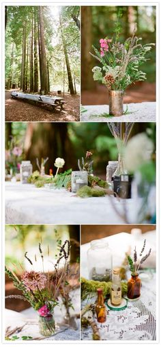 Redwood forest campout wedding. Wooden picnic tables put together to form one long one. Simple decor for tablescapes as well.