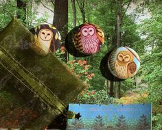 Owl Art button pack Woodland owls - Three Little Owls pin pack - pin back buttons by Marisol Spoon