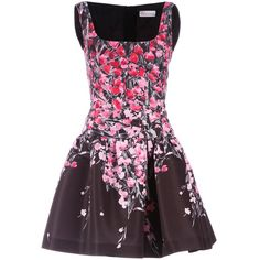 Brown sleeveless dress from Red Valentino featuring a square neckline, a dropped waist, a rear zip fastening, a flared skirt and a pink and red floral design on...
