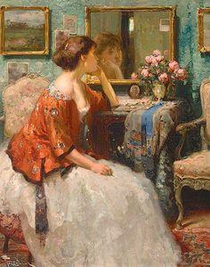 art Fernand Toussaint – Interieur met dame kijkend in de spiegel Classic Paintings, Beautiful Paintings, Intermediate Colors, Berber, Art Moderne, Renaissance Art, Renoir, Art Themes, Figurative Art