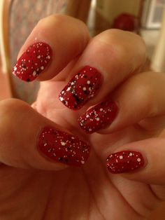 Nail Art - Revlon Cherry with BYS Black and white confetti