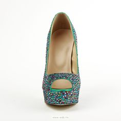 5.5 inch Multicolor Beaded Glitter Leather shoes $66