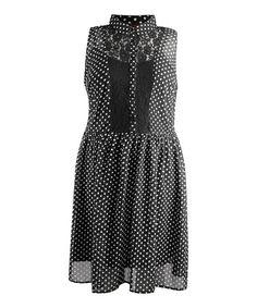Love this Black & White Polka Dot Sleeveless Dress - Plus by Dex on #zulily! #zulilyfinds