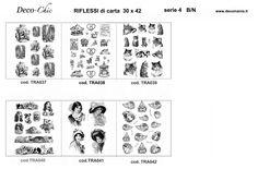 carte per il trasferimento d'immagine in bianco e nero. Disponibili su www.deco-chic.it alla voce carte da decoupage, Riflessi di carta, serie 4