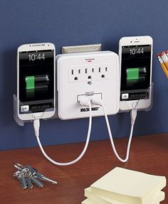 Create your own charging center while adding extra outlets using this convenient… gadgets USB Outlet Multiplier with Surge Protector Handy Gadgets, New Gadgets, Gadgets And Gizmos, Electronics Gadgets, Kitchen Gadgets, Electronics Storage, Gadgets Online, Futuristic Technology, Cool Technology
