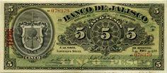 Mexico banknotes 5 Pesos bank note issued by the El Banco de Jalisco. Mexican…