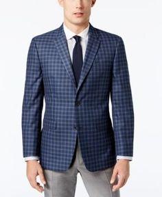 Tommy Hilfiger Men's Slim-Fit Blue Multi-Check Sport Coat - Blue 48R