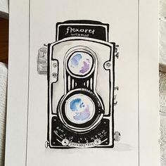 #flexaret #vintagecamera #illustration #illustrator #ink #inkillustration #waterblog #watercolor #watercolorillustration #camera #vintagelove #vintagelove #handdrawing #drawingoftheday #coloraddict