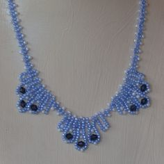 Crystal Blue by Cecilia Rooke Seed Bead Necklace, Seed Bead Jewelry, Bead Jewellery, Blue Necklace, Bead Earrings, Necklace Set, Beaded Necklace Patterns, Beading Patterns, Handmade Beads