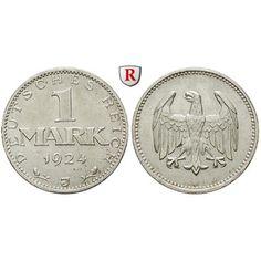 Weimarer Republik, 1 Mark 1924, J, vz+, J. 311: 1 Mark 1924 J. J. 311; vorzüglich +, Rdf. 40,00€ #coins