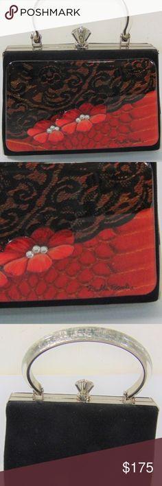 "Debbie Brooks Signed Handbag Hand silk screened artwork encapsulated with jewelry grade acrylic. Swarovski crystal embellished. Interior is black satin.   Approximate measurements:  L: 6.75"" x W: 2"" x H: 4.50""  Handle Drop: 3.50"" Debbie Brooks Bags"
