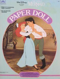 Walt Disney The LITTLE MERMAID PAPER DOLL Book UNCUT w Ariel & Prince Eric Dolls (1991 Golden) by Golden Book, Western Publishing, Walt Disney. $59.99