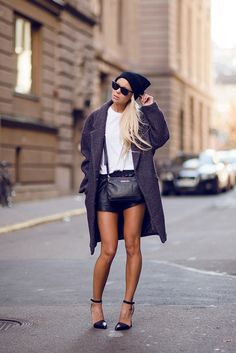 White Tee, Beanie, Leather Shorts, Monochrome, Grey Coat, Victoria Tornegren