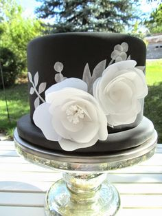 black fondant with wafer paper flowers