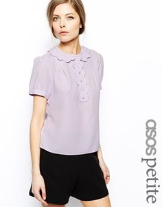 ASOS PETITE Exclusive Scallop Trim Blouse