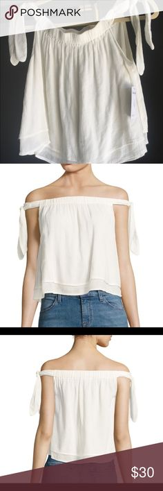 Splendid Tie-Accented off-the-shoulder Top •elasticize off the shoulder neckline •self tie sleeves •layered design •about 15.5 from shoulder to hem •made in the USA •hand wash • super cute and flirty ! 70% bamboo 30% cotton Splendid Tops Tank Tops