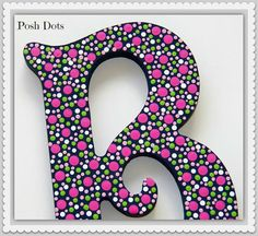 POSH DOTS  Custom Painted Decorative Wooden Wall Letters