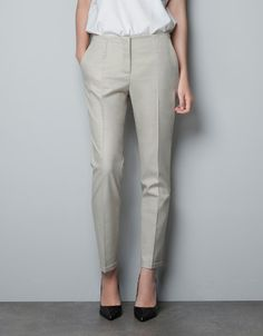 ANKLE-CROPPED TROUSERS - Trousers - Woman - ZARA United States