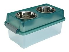 Just saw this on amazon. AMAZING. Food storage under, raises the bowls. This is great! 3 sizes. Could be used everyday or for storage on road/camping trips.