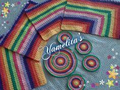 juego de Individuales, Posa Vasos y Posa Jarra, técnica Log Cabin a Ganchillo
