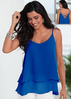 Flowy X-Back Top $29  This sheer double layer of loveliness is the way to flow through the season.