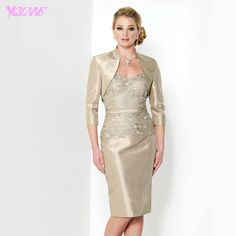 Find More Mother of the Bride Dresses Information about New Gold Stain Mother of the Bride Dresses With Jacket Formal Women Evening Gown Zipper Back Knee Length,High Quality gold sequin dress,China gold plus size dresses Suppliers, Cheap gold dance dress from Suzhou YQLAN Wedding & Prom Ltd. Store on Aliexpress.com