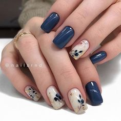 Blue Gel Nails, Navy Blue Nails, Cute Acrylic Nails, Green Nails, Navy Blue Nail Designs, Pink Nails, Cute Nails, Navy Nail Art, Fabulous Nails