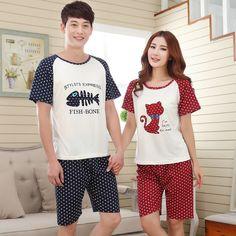 New Summer Short sleeve Lovers pajamas men &women sleepwear silk Cartoon Leisure Home wear clothes loose couple pajamas sets
