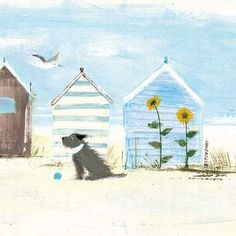 Sunflowers Beach Greetings Card by Hannah Cole… Beach Illustration, Watercolor Art, Drawing And Illustration, Coastal Painting, Painting, Illustration Art, Art, Card Art, Summer Illustration