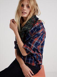 madewell wrap overlay shirt worn with the blanket scarf + metalware bracelet.