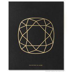 Cushion Cut Gem Print by RBTL®