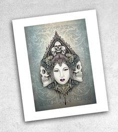 Skull Goddess Asian Horror Design. Art Print by Sherrie Thai, shaireproductions shop