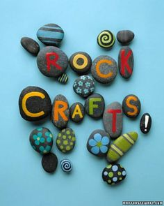 Rock Crafts- (spell out name of vacation spot for shadow box memory frames)