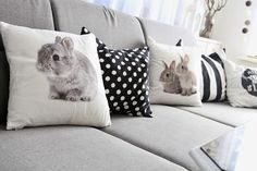 Lady Tattooch Home Sweet Home Pillows Bunny Rabit Pepco Grey