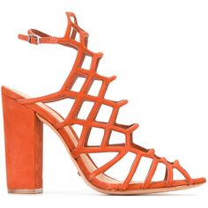 Schutz cage style heeled sandals ($199) ❤ liked on Polyvore featuring shoes, sandals, red, leather caged sandals, leather footwear, red leather sandals, real leather shoes and schutz sandals
