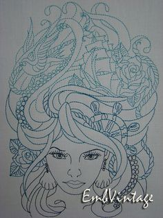 Embroidery Design for Machine Embroidery Sea Queen
