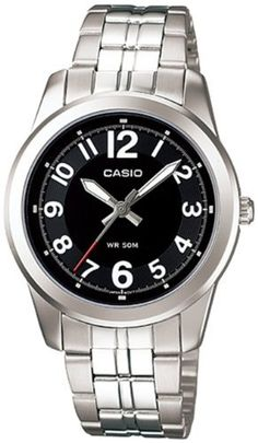 Women's Wrist Watches - Casio Womens LTP1315D1BV Silver StainlessSteel Quartz Watch with Black Dial ** You can get additional details at the image link.