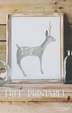 Free Christmas Watercolor Deer Printable