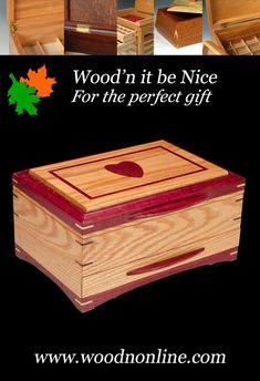 """Unique wood jewelry box. The answer to the question...""""what is the perfect gift I can give her?"""" Crafted with the finest materials and care, it is sure to provide a lifetime of use and enjoyment. 5th Wedding Anniversary, Jewelry Box, Decorative Boxes, Nice, Wood, Crafts, Jewellery Box, Jewel Box, Manualidades"""