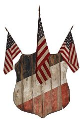 """Patriotic Shield Flag Holder    Flag holder in the form of a shield, painted red, white and blue.  Meashures 32"""" x 26"""". Holds 7 Flags.  Hingham, Mass. c. 1870"""
