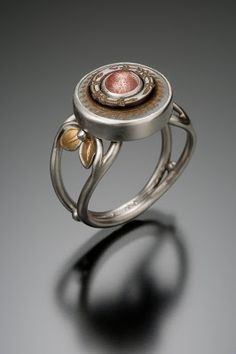 Vintage MOP Button Ring with Oregon Sunstone, crafted in sterling silver and 24k gold leaves.